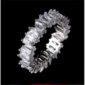Jagged Cut Baguette Eternity Band/Ring in Silver